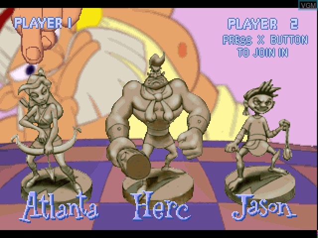 Menu screen of the game Herc's Adventures on Sony Playstation