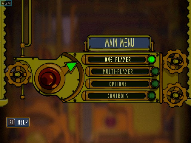 Menu screen of the game Hogs of War on Sony Playstation