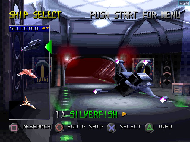 Menu screen of the game Invasion from Beyond on Sony Playstation