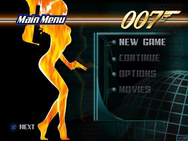 Menu screen of the game 007 - The World Is Not Enough on Sony Playstation