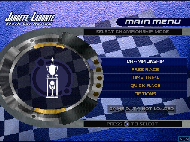 Menu screen of the game Jarrett & Labonte Stock Car Racing on Sony Playstation