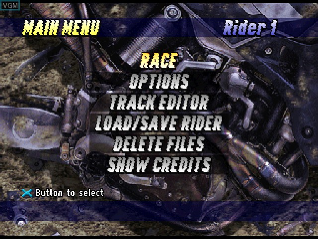 Menu screen of the game Jeremy McGrath Supercross 98 on Sony Playstation