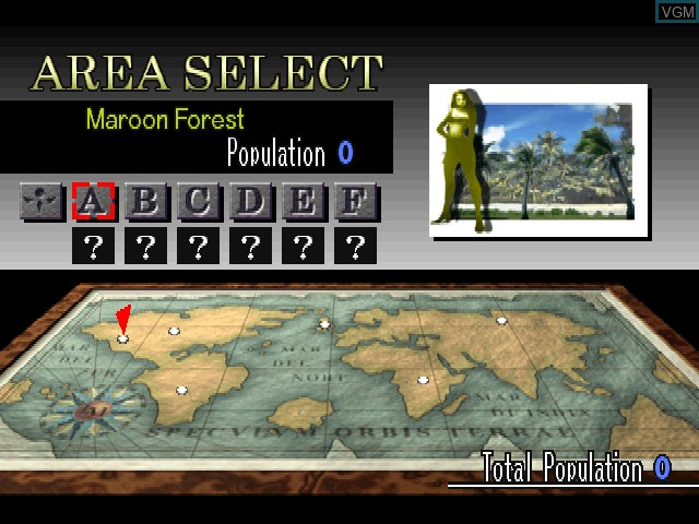 Menu screen of the game Land Maker on Sony Playstation