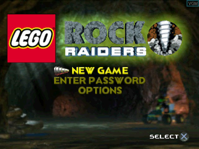 Menu screen of the game LEGO Rock Raiders on Sony Playstation
