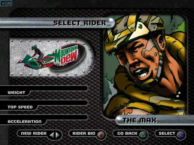 Menu screen of the game Jet Moto 2 on Sony Playstation