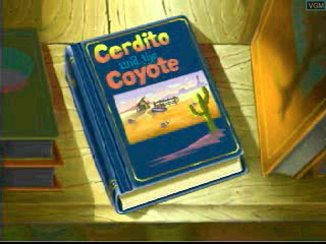 Menu screen of the game Liquid Books Adventure 2 - Amrita's Trees and Cerdito and the Coyote on Sony Playstation