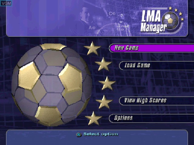 Menu screen of the game LMA Manager on Sony Playstation