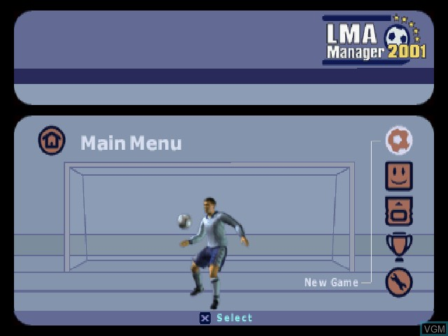 Menu screen of the game LMA Manager 2001 on Sony Playstation