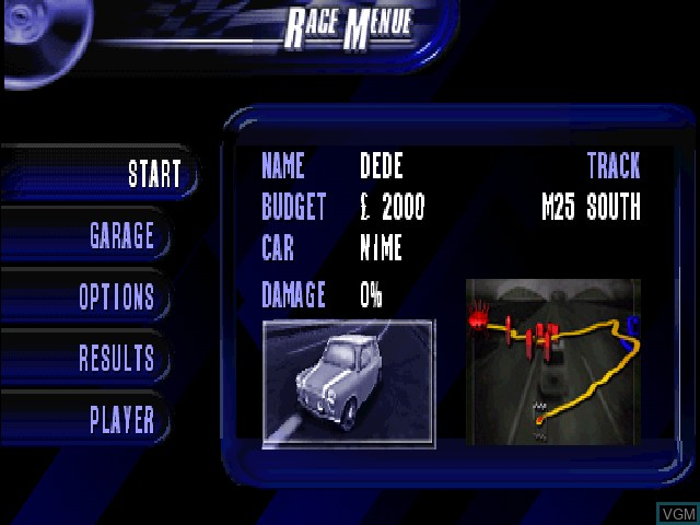 Menu screen of the game London Racer on Sony Playstation