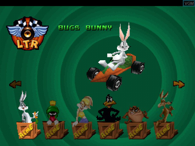Menu screen of the game Looney Tunes Racing on Sony Playstation