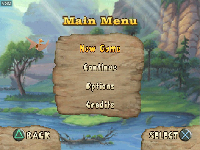 Menu screen of the game Land Before Time, The - Big Water Adventure on Sony Playstation