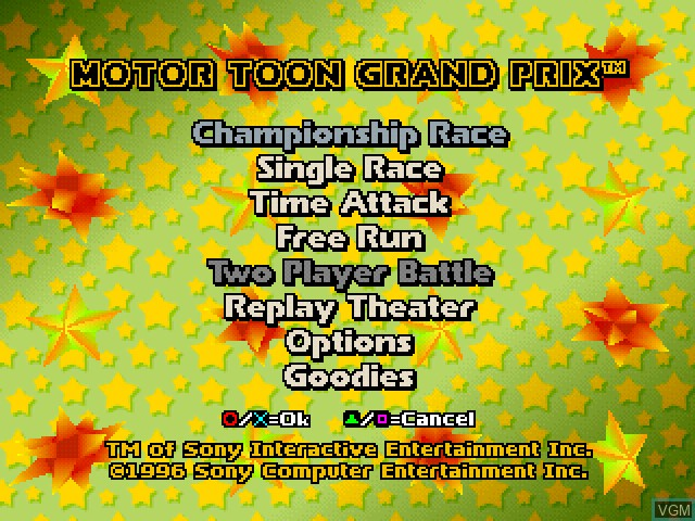 Menu screen of the game Motor Toon Grand Prix on Sony Playstation