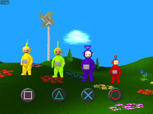 Menu screen of the game Play with the Teletubbies on Sony Playstation