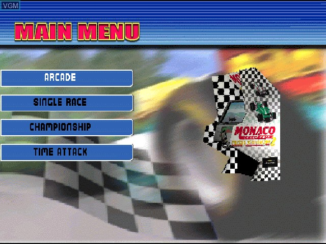 Menu screen of the game Monaco Grand Prix Racing Simulation 2 on Sony Playstation