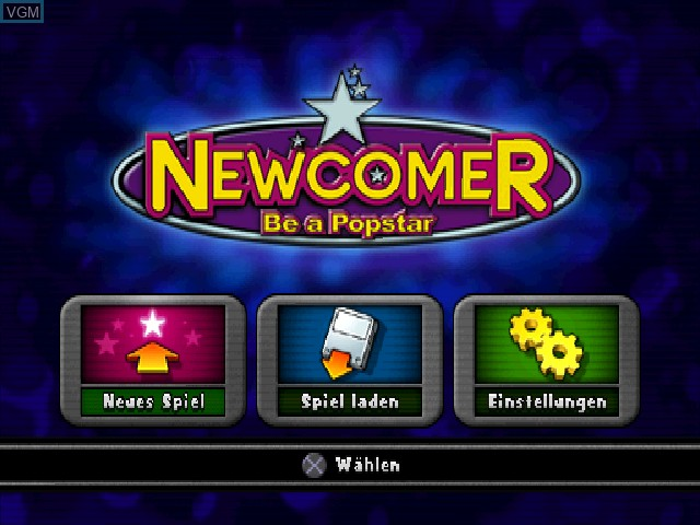 Menu screen of the game Newcomer - Be a Popstar on Sony Playstation