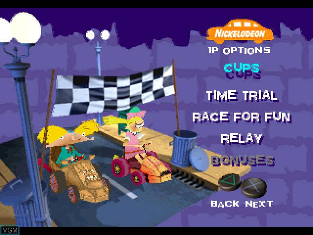 Menu screen of the game Nicktoons Racing on Sony Playstation