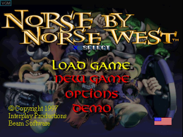 Menu screen of the game Norse by Norsewest - The Return of the Lost Vikings on Sony Playstation
