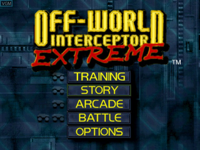 Menu screen of the game Off-World Interceptor Extreme on Sony Playstation