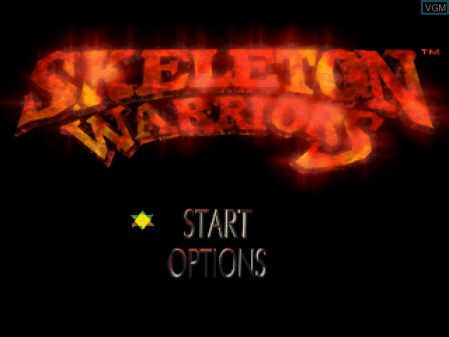 Menu screen of the game Skeleton Warriors on Sony Playstation