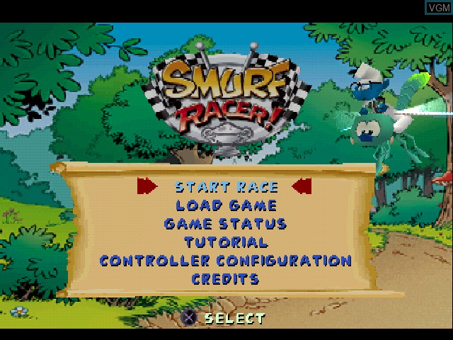 Menu screen of the game Smurf Racer! on Sony Playstation