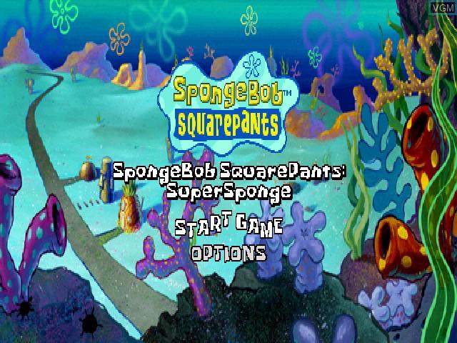 Menu screen of the game Nickelodeon SpongeBob SquarePants - SuperSponge on Sony Playstation