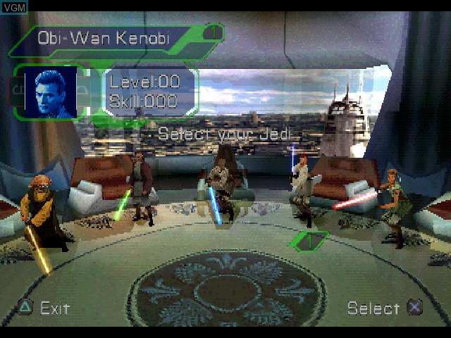 Menu screen of the game Star Wars - Episode I - Jedi Power Battles on Sony Playstation