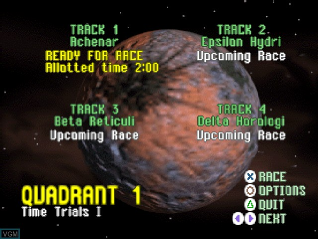 Menu screen of the game Starwinder - The Ultimate Space Race on Sony Playstation