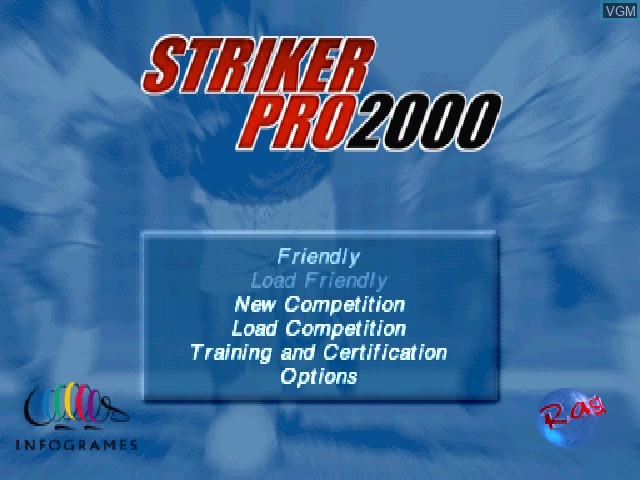 Menu screen of the game Striker Pro 2000 on Sony Playstation