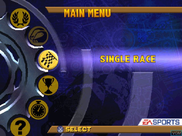 Menu screen of the game EA Sports Superbike 2000 on Sony Playstation
