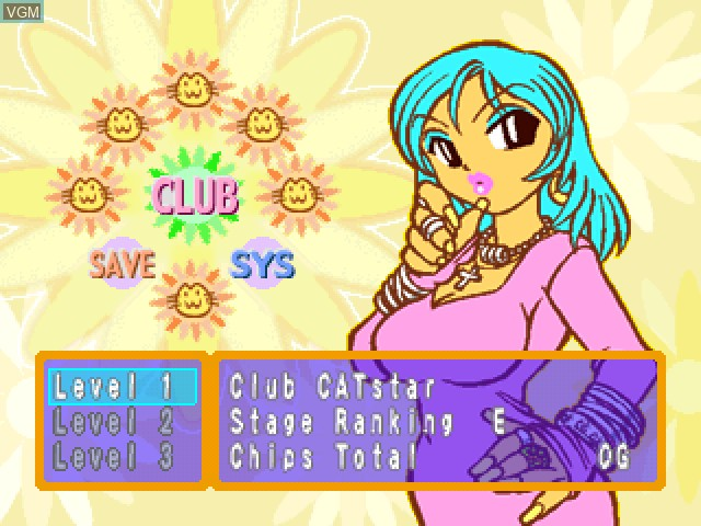Menu screen of the game Superstar Dance Club - #1 Hits!!! on Sony Playstation