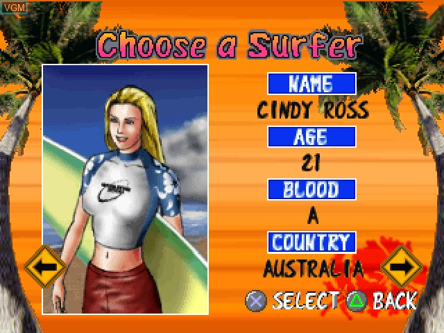 Menu screen of the game Surf Riders on Sony Playstation