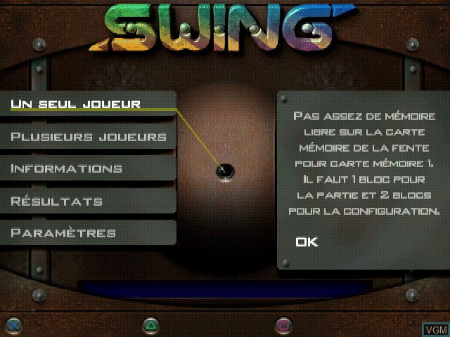 Menu screen of the game Swing on Sony Playstation