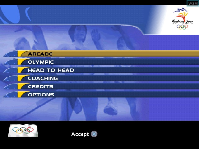 Menu screen of the game Sydney 2000 on Sony Playstation