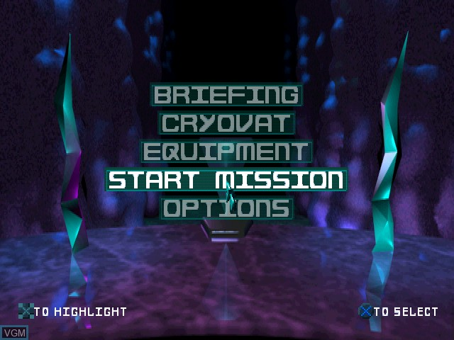 Menu screen of the game Syndicate Wars on Sony Playstation
