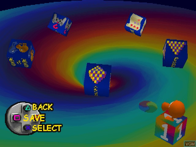 Menu screen of the game Q-bert on Sony Playstation