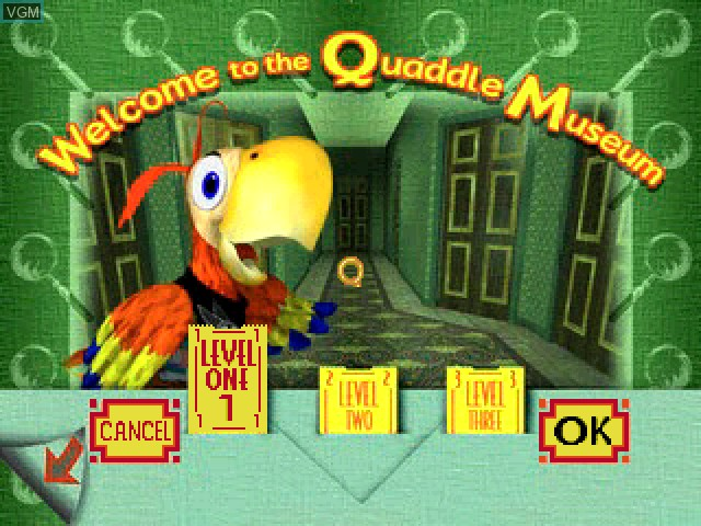 Menu screen of the game Quaddle Family Mysteries, The 1 - The Case of the Scarce Scarab - Lobby - Kitchen on Sony Playstation