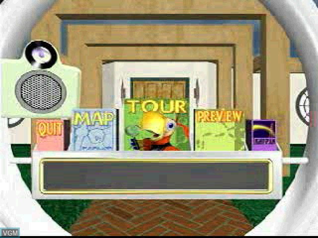 Menu screen of the game Quaddle Family Mysteries, The 3 - The Case of the Scarce Scarab - Parlor - Family Room on Sony Playstation