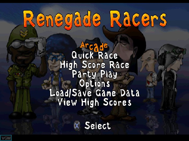 Menu screen of the game Renegade Racers on Sony Playstation