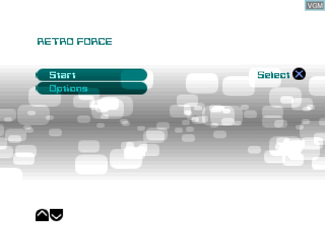 Menu screen of the game Retro Force on Sony Playstation