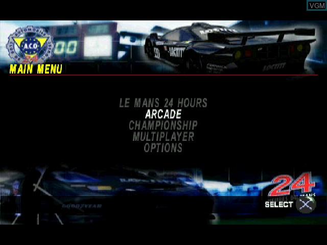 Menu screen of the game Test Drive Le Mans on Sony Playstation
