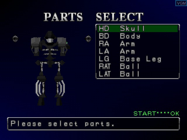 Menu screen of the game Robo Pit 2 on Sony Playstation