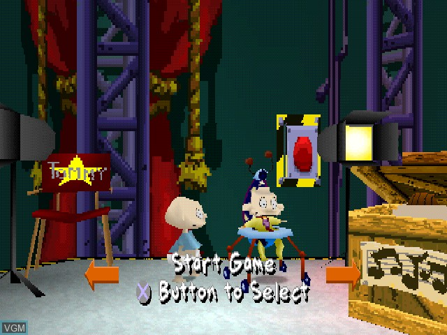 Menu screen of the game Nickelodeon Rugrats - Studio Tour on Sony Playstation