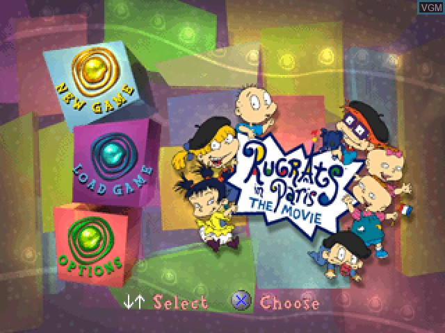 Menu screen of the game Nickelodeon Rugrats in Paris - The Movie on Sony Playstation