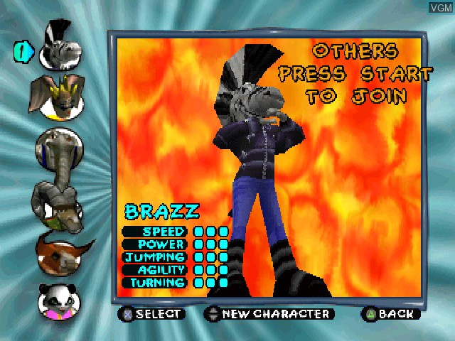 Menu screen of the game Running Wild on Sony Playstation
