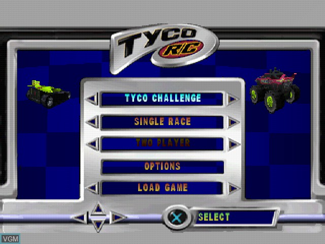 Menu screen of the game Tyco R-C - Assault with a Battery on Sony Playstation