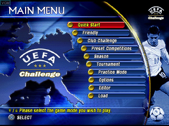 Menu screen of the game UEFA Challenge on Sony Playstation
