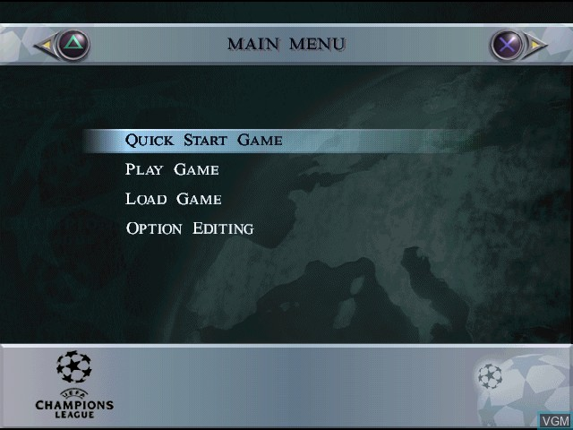 Menu screen of the game UEFA Champions League - Saison 1998-99 on Sony Playstation