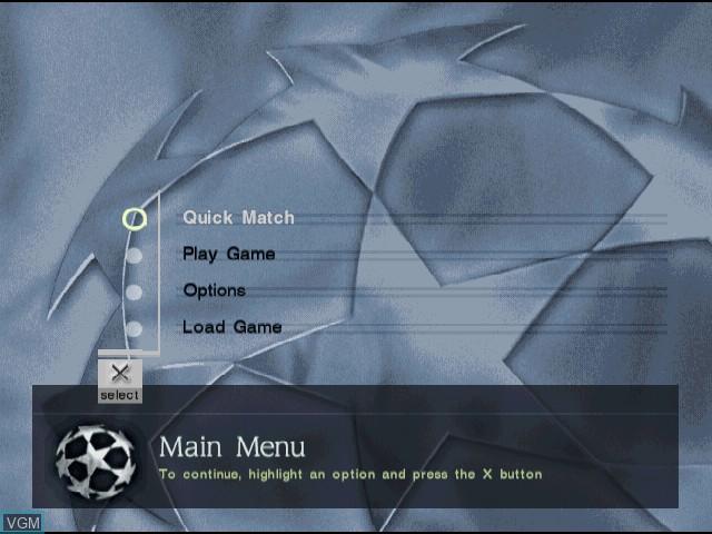 Menu screen of the game UEFA Champions League - Season 2000-2001 on Sony Playstation