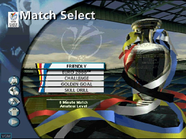 Menu screen of the game UEFA Euro 2000 on Sony Playstation
