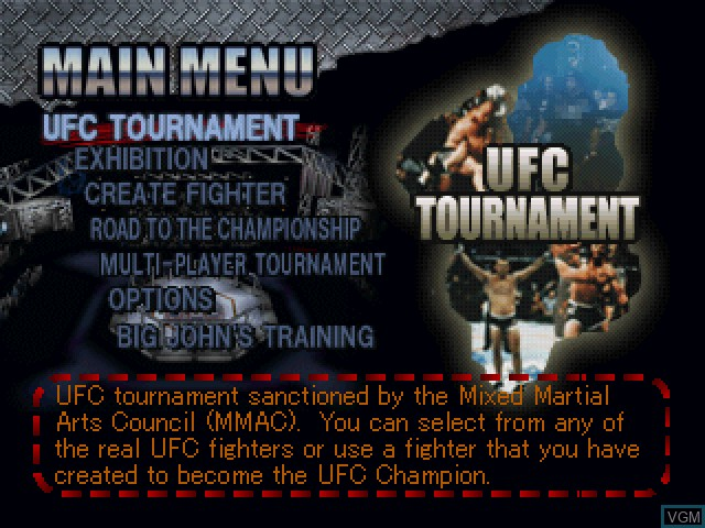 Menu screen of the game Ultimate Fighting Championship on Sony Playstation
